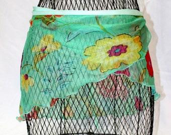 Wrap ballet dance skirt Xs adult,  Small adult 12 inch length 48 wide, Chiffon print