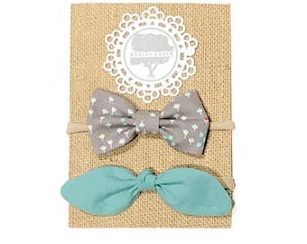 Set of Two Headbands - Floral Bow, Aqua Top Knot Bow