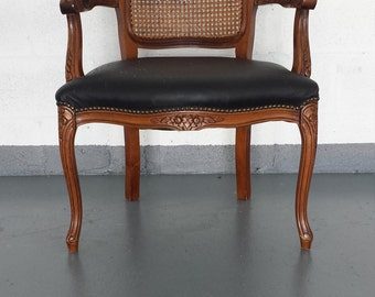 Vintage French Country Cane Back Armchair