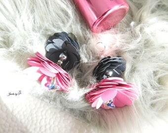 Flower Dangle Earrings Pink & Grey