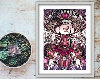 Stag Art Print, Mystical Hand Drawn Wildlife Artwork Fantasy Illustration Signed Giclee Psychedelic Unusual Gothic Wall Art Scottish Nature