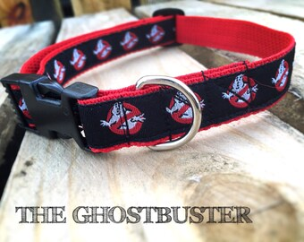 Ghostbusters Dog Collar red black adjustable with heavy duty webbing and ribbon  * by Easy and Cooper