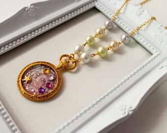 140 Magical Girl Necklace, Lolita cute kawaii magica chica galaxy pearl stars clock