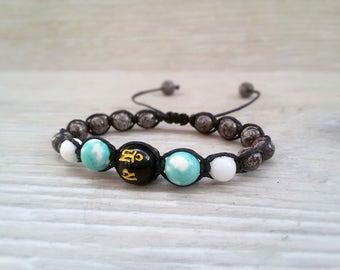 Men Shamballa bracelet Om Mantra jewelry Balance bracelet for Boyfrend gift Snowflake Obsidian bracelet Yoga meditation bracelet Aquarius
