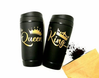 Couples, travel mugs, gift, His Queen, Her King, gift for couples, anniversary gift, wedding, coffee mugs, travel mug, engaged, unique, cup