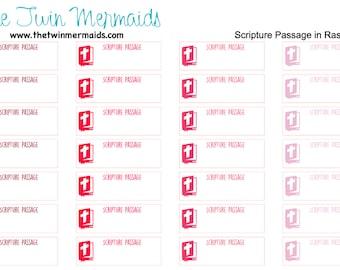 Scripture Passage in Raspberry Planner Stickers
