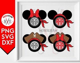 Mickey Minnie Pirate Monogram svg, Mickey Mouse Pirate svg, Minnie Mouse Pirate Monogram svg, Pirate svg, Pirate Head svg, Disney Pirate svg