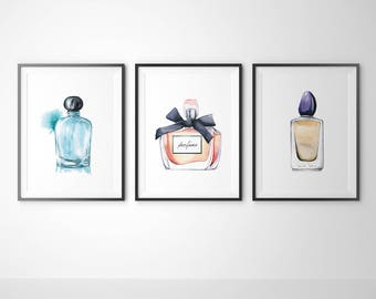 Set of 3 - Water Color Perfume Print, Fashion wall art, Fashion Poster, Fashion printable, Fashion decor, Fashion Art, Fashion Print