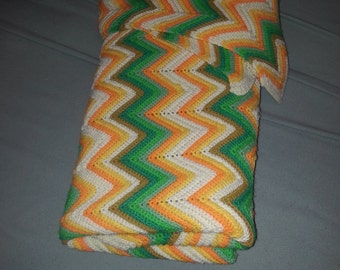 Knitted Throw - Beautiful Green's, Yellows and Oranges  mixed with white.