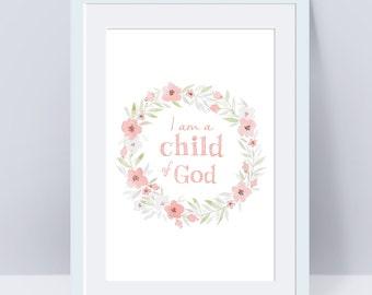 I am a Child of God, baptism, Primary Sign, LDS Home Decor, Instant Download, Digital Printable, Home Decor Print, LDS Gift