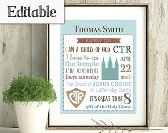 Baptism Subway Art, Editable PDF, LDS Boy Baptism, Poster baptism, Printable baptism, Gift Idea for boys, Primary Gift