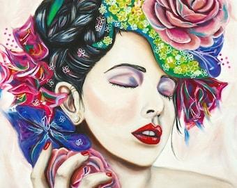 Female painting etsy - Naakt in haar woonkamer ...