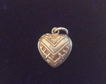 Sterling silver puffy heart charm vintage #1051