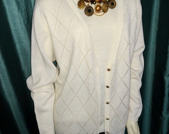 XL Cardigan/Cream Women's Cardigan/Winter White Cardigan/Vintage Off White Cardigan/Alfred Dunner Cardigan/Gift For Her/ Item Nr.197