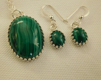 Malichite and sterling earring and necklace set.
