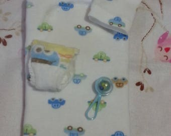 4 piece Mini silicone reborn Baby changing pad white with cars