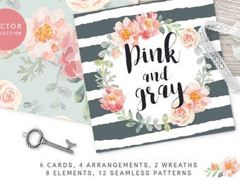 Pink and Gray floral collection