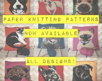 Printed Paper Copy of Animal/Pet Portrait Knitting Patterns