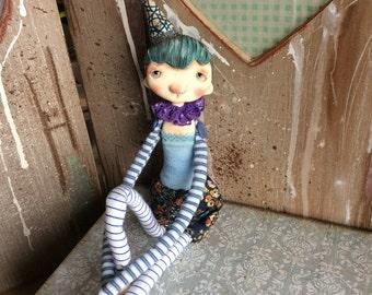 SALE Pom, OOAK art doll, Moppiedoll, clay doll, decorative doll