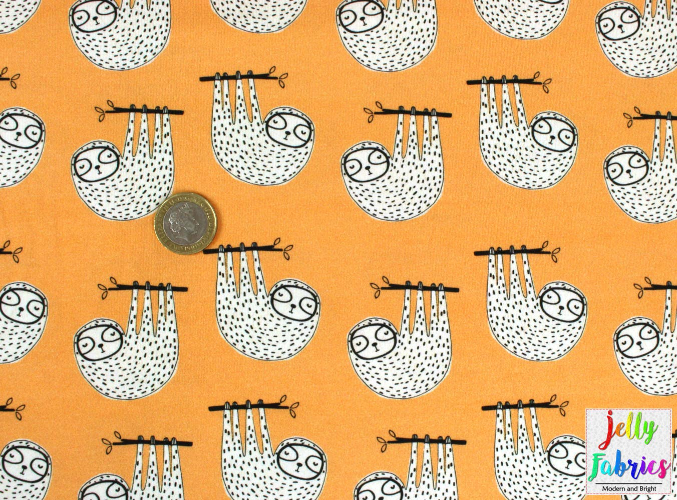 Organic jersey fabric sloths in orange by amne uk for Children s jersey fabric uk