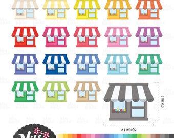 30 Colors Shops Clipart - Instant Download