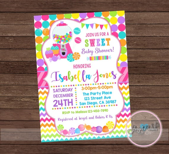Candyland Baby Shower Party Invitation, Candy Land Baby