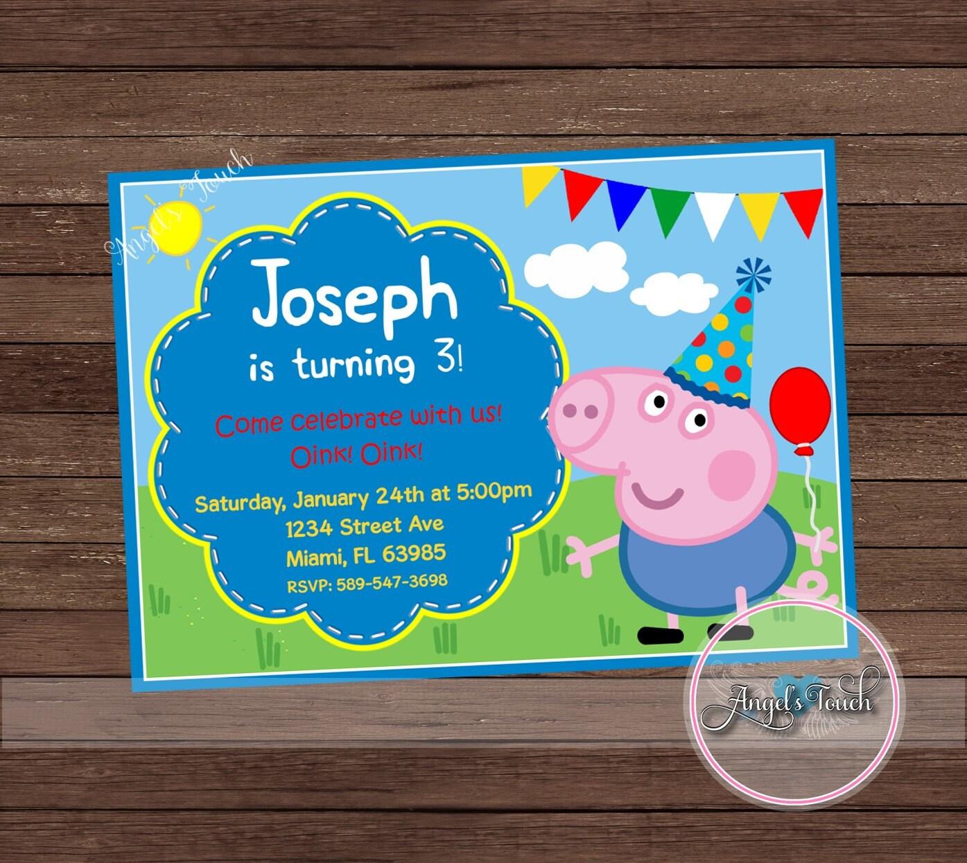 George Pig Party Invitation George Pig Birthday Invitation Peppa – Pig Birthday Party Invitations