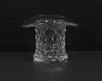 "ON SALE!  Vintage Fostoria American Pattern 2.50"" Crystal Top Hat Toothpick Holder."