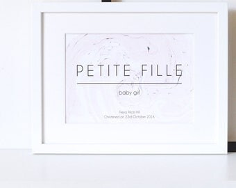 Personalised 'Petite Fille' Christening Marble Print, Christening Gift, Baby Print, Baby Gift