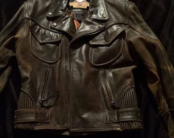 Harley Davidson Bilings Distress Motorcycle Leather Jacket (Rare Collectors Leather Jacket)
