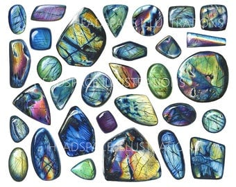 Labradorite Spectrolite Colored Pencil Art Print by Headspace Illustrations