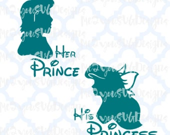 Ariel and Eric Her Prince His Princess SVG,EPS,PNG,Studio