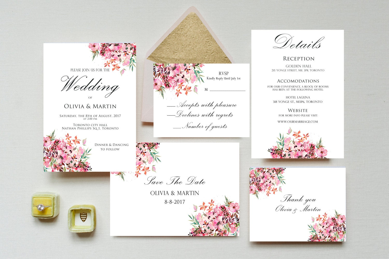 Printable Wedding Invitation Sets: Wedding Invitation Printable Wedding Invitation Set Floral