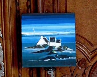 NEW ! Breton island, acrylic painting on linen
