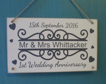 1st First  or Any Year Wedding Anniversary Personalised Wooden Plaque with Name