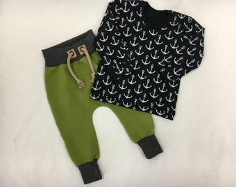 Set baggy pants Sweatshirt anchor olive black blue Gr. 56-92