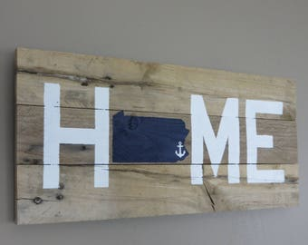 "Pennsylvania Home Pallet Wood Sign - Pallet Sign 10"" X 20"""