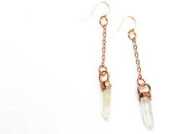 Quartz Earrings, Dangle Earrings, Crystal Earrings, Healing Earrings, Raw Crystal Earrings, Raw Quartz Crystal, Gift for Her
