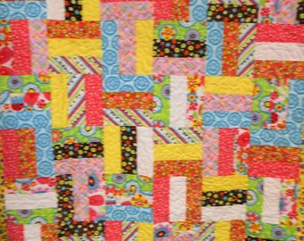 """Handmade Baby Quilt, Baby Brights Fence Rail Quilt 43"""" x 43"""""""