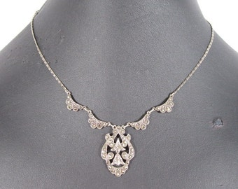 Vintage ART DECO Sterling Silver & Marcasite Stone Necklace    JWLY02