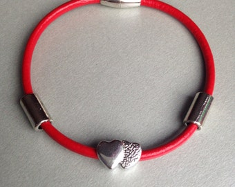 Simple Red Leather Strand Bracelet-  Charm Bracelet- Red Bracelet- Heart Bracelet