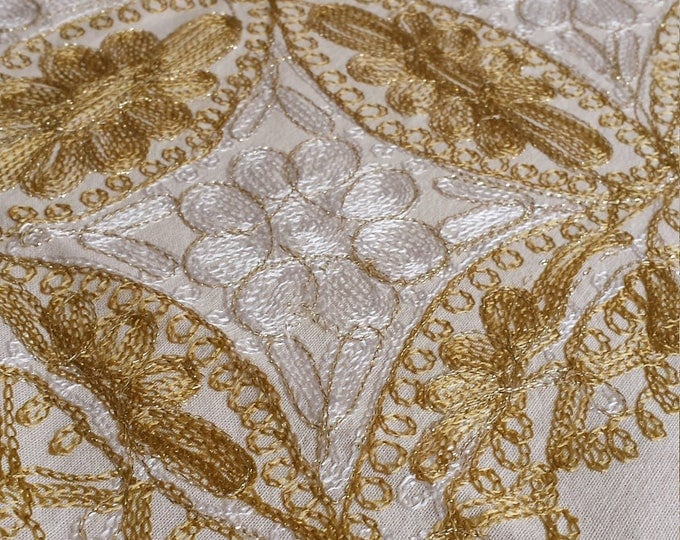 tablecloth 60 X 60 inches, and 6 napkins, Aghabani Tablecloth, Embroidered beige tablecloth, Syrian textiles, Beige and gold tablecloth