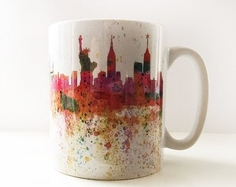 New York mug, with watercolour  image, statue of Liberty, Freedom tower, Empire State building, new york skyline