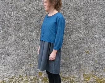 The ATHENA top: Buttondown cropped linen top in indigo, charcoal or black