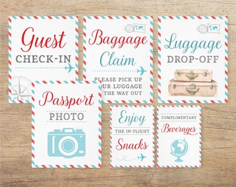Airplane Signs, Travel Wedding, Airline Themed Baby Shower, Bridal Decor, Around the World, Birthday Printable, Blue Red, TR RT Download