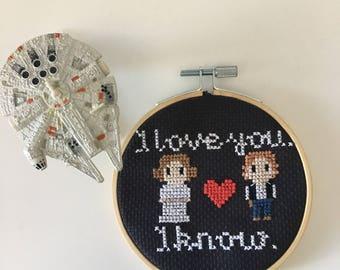 I love you I know Star Wars Cross Stitch