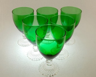 anchor hocking bubble foot green water glass set of six vintage 1950s emerald green water