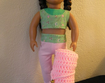 Yoga Two-Piece Outfit with Practice Mat for American Girl and Other 18 inch Dolls