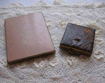 Lot Of 2 Old Metal Cases / Vintage Compact And Cigarette Case
