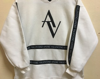 Vintage 90's Andre Valentino Paris Classic Design Skate Sweat Shirt Sweater Varsity Jacket Size M #A714